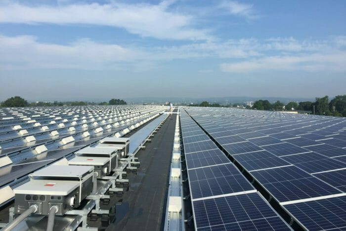 large commercial rooftop solar array