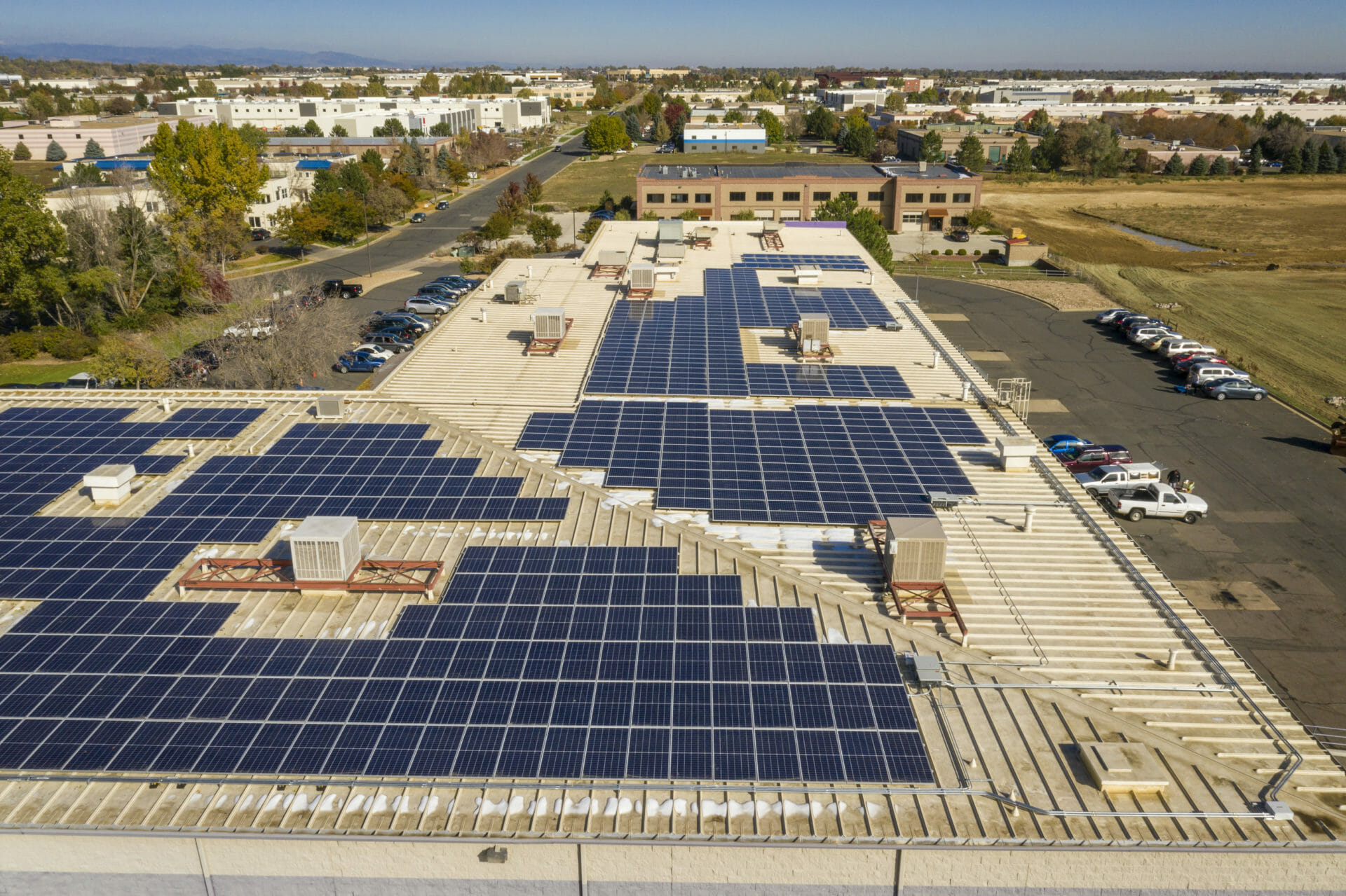 large rooftop commercial solar array in louisville colorado
