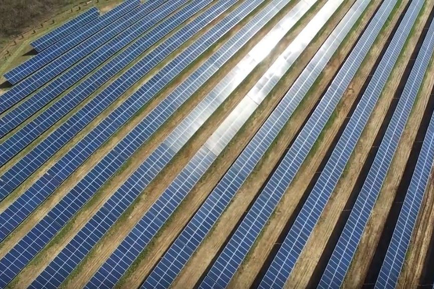 aerial view of commercial solar in pennsylvania